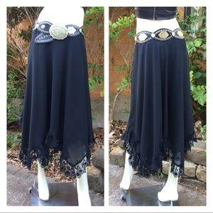 Vintage Romantic Goth Handkerchief Lace Hem Skirt